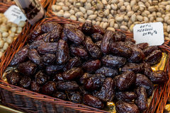 Fresh dates in a market. Detail of a healthy lifestyle food, fruit Royalty Free Stock Images