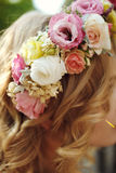Fresh delicate magical wedding wreath white pink and yellow rose Royalty Free Stock Photos