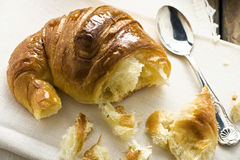 Fresh Delicious Bitten Croissant royalty free stock photography