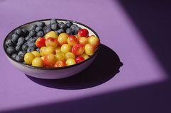 Fresh delicious bluberries and cherries in bowl on purple background. Superfoods. Vegan Royalty Free Stock Photo