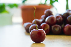 Fresh delicious cherries on the table. Summer harvest. Useful fruit stock images