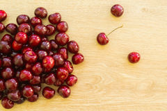 Fresh delicious cherries on the table. Summer harvest. Useful fruit stock photography