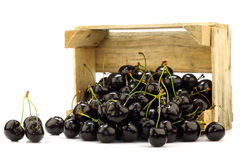 Fresh delicious cherries in a wooden box Royalty Free Stock Images