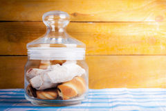 Fresh delicious cookies in a glass jar Royalty Free Stock Image