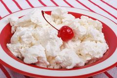 Fresh delicious cottage cheese with cherry Royalty Free Stock Photos