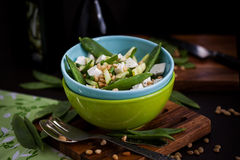 Fresh delicious cucumber, green peas, feta and pine nuts salad Royalty Free Stock Photos