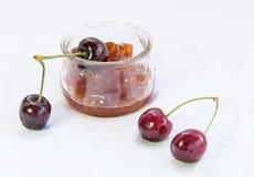 Fresh delicious dark red cherries Stock Photography