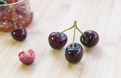 Fresh delicious dark red cherry fruits. Stock Photos