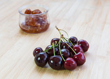 Fresh delicious dark red cherry fruits Stock Photos