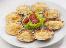 Scallops. Fresh and delicious dish of scallops baked with cheese in its shell stock image