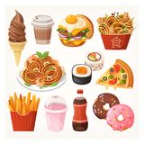 Fresh delicious fast food takeaway dishes. Snacks and desserts for a quick lunch or a dinner. Unhealthy junk food icons. Isolated vector illustrations stock illustration
