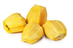 Fresh delicious four flesh of jackfruit isolated on clean white Stock Photo