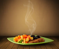 Fresh delicious home cooked food with steam Stock Images
