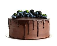 Fresh delicious homemade chocolate cake with berries. On white background stock photo