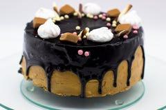 Homemade chocolate cake with marshmallow, caramel, sugar stock photography
