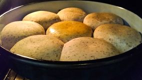 Homemade Mini Bread in the Oven royalty free stock photo
