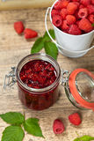 Fresh and  Delicious Homemade Raspberries Jam. Healthy Eating Concept with Fresh Raspberries. Selective focus Royalty Free Stock Images