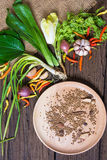 Fresh delicious ingredients. For healthy cooking or salad making on rustic background, top view Stock Photography