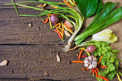 Fresh delicious ingredients. For healthy cooking or salad making on rustic background, top view Stock Image