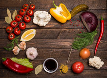 Fresh delicious ingredients for healthy cooking or salad making. On rustic background, top view, banner with copy-space for your text. Diet or vegetarian food Stock Photography