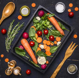 Fresh delicious ingredients for healthy cooking or salad making on rustic background, top view Diet vegetarian food concept Stock Photography