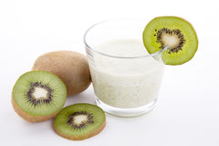 Fresh delicious kiwi yoghurt shake cream isolated Royalty Free Stock Photo