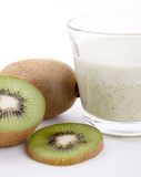 Fresh delicious kiwi yoghurt shake cream isolated Stock Photo