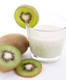 Fresh delicious kiwi yoghurt shake cream isolated Stock Photos