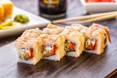 Maki and nigiri sushi. Fresh and delicious maki and nigiri sushi. Sushi background. Asian or Japanese food stock images