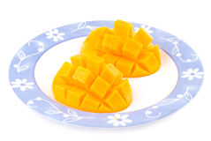 Fresh delicious mango fruit in dish. Tropical fruit Stock Photo