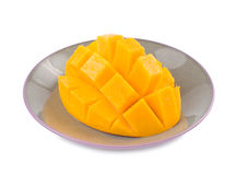 Fresh delicious mango fruit in dish. Tropical fruit Stock Image