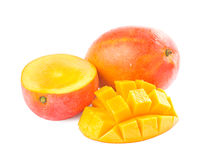 Fresh delicious mango fruit and slice. Isolated on white background Stock Images