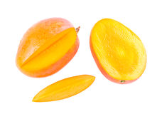 Fresh delicious mango fruit and slice. Isolated on white background Royalty Free Stock Photo