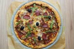 Fresh Delicious Pepperoni Pizza Stock Photo