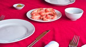 Fresh delicious prawns. Served on white plate in vietnamese restaurant royalty free stock image