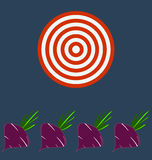 Fresh delicious red beet with green leaves. Target business concept royalty free illustration