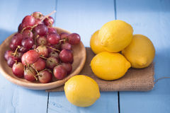 Fresh and delicious red grapes isolated on white background Royalty Free Stock Photos