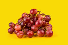 Fresh and delicious red grapes isolated on yellow background Royalty Free Stock Image