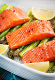 Fresh delicious salmon, green asparagus and lemon in pan. Raw fresh delicious salmon, green asparagus and lemon in pan, ready to cook Stock Image