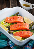 Fresh delicious salmon, green asparagus and lemon in pan. Raw fresh delicious salmon, green asparagus and lemon in pan, ready to cook Royalty Free Stock Images