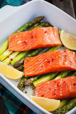 Fresh delicious salmon, green asparagus and lemon in pan. Raw fresh delicious salmon, green asparagus and lemon in pan, ready to cook Stock Photos