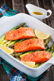 Fresh delicious salmon, green asparagus and lemon in pan. Raw fresh delicious salmon, green asparagus and lemon in pan, ready to cook Royalty Free Stock Photo