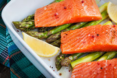Fresh delicious salmon, green asparagus and lemon in pan. Raw fresh delicious salmon, green asparagus and lemon in pan, ready to cook Royalty Free Stock Photos