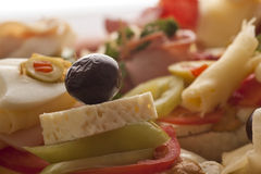 Fresh delicious sandwiches. On plate Royalty Free Stock Image