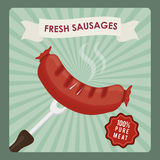 Fresh and delicious sausages bbq designs. Royalty Free Stock Images