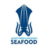 Fresh and delicious seafood icon with blue squid. Natural organic fresh squid blue silhouette. Seafood emblem design template with marine mollusk for fish farm Stock Photos