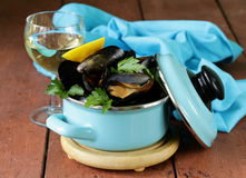 Fresh delicious seafood mussels Royalty Free Stock Image