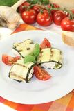 Fresh delicious stuffed courgette rolls Stock Photos