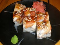 Fresh and delicious sushi . menu. Japanese food royalty free stock images