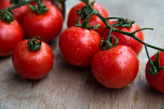Fresh delicious tomatoes on wooden tabletop. Close -up of fresh red delicious tomatoes  on an  old wooden tabletop Royalty Free Stock Photo